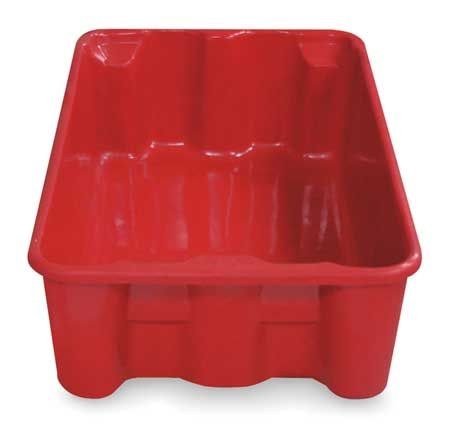 Heavy Duty Stack and Nest Container, Red ,Molded Fiberglass, 7805085280