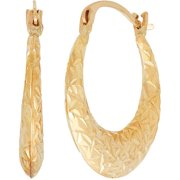 Simply Gold 10kt Yellow Gold Texture Graduated Hoop Earrings