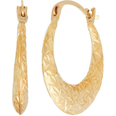 Brilliance Fine Jewelry 10K Yellow Gold Textured Graduated Center Hoop Earrings