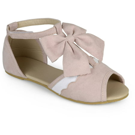 - Brinley Kids Little Girl Scalloped T-strap Peep Toe Dress Flats