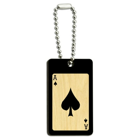 Playing Cards Ace of Spades - Poker Wood Rectangle Key Chain