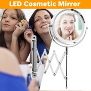 6'' 3X Magnifying LED Mirror Touch Wall Mount 360° Adjustable 2 Side Makeup Beauty Mirror with Light