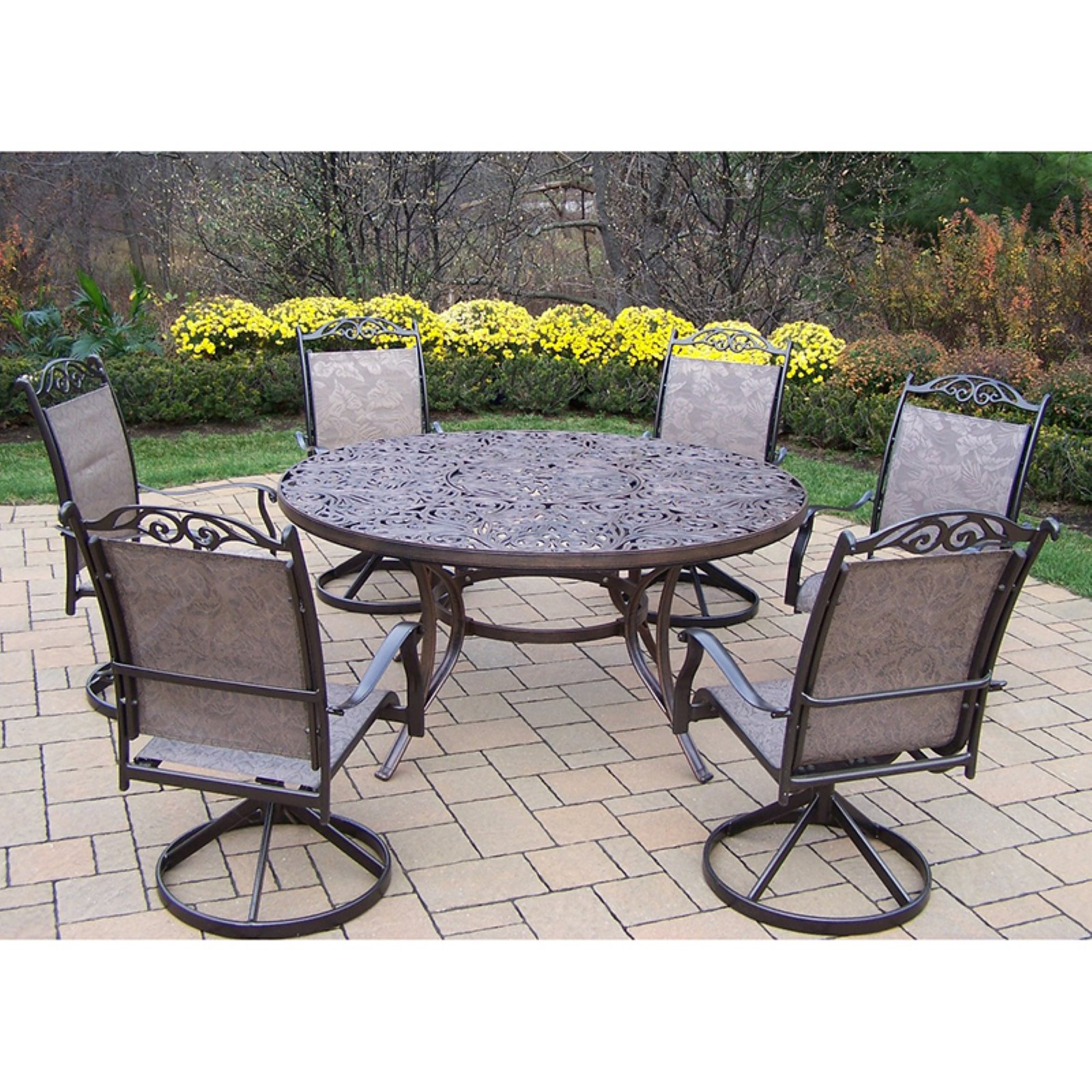 Oakland Living Mississippi Cascade 60 in. Swivel Sling Patio Dining Set - Seats 6