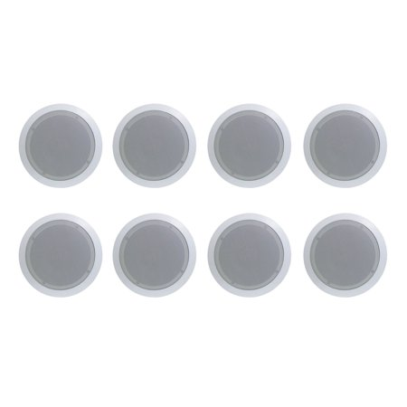 8) New PYLE PRO PDIC61RD 6.5'' 200W Max 2-Way In-Ceiling/Wall Speaker, White