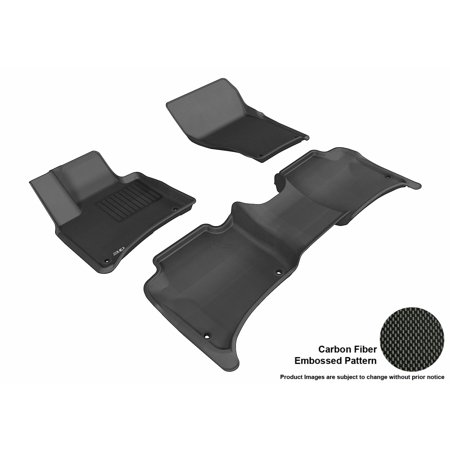 3D MAXpider 2011-2017 Porsche Cayenne Front & Second Row Set All Weather Floor Liners in Black with Carbon Fiber Look