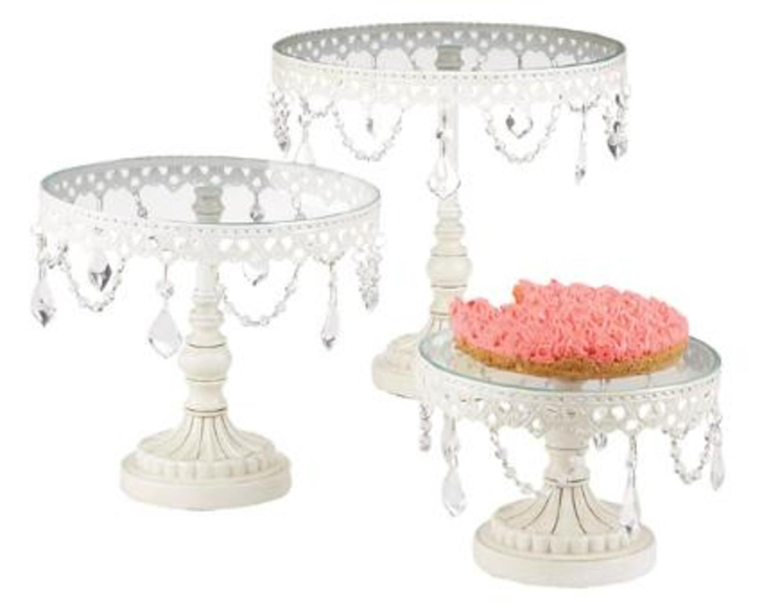 Set of 3 Victorian Style White Cake Stands With Dangle Crystal Accents