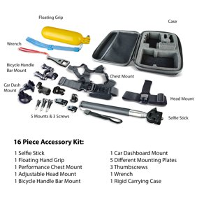 onn. Action Camera Accessory Kit, 16 Pieces