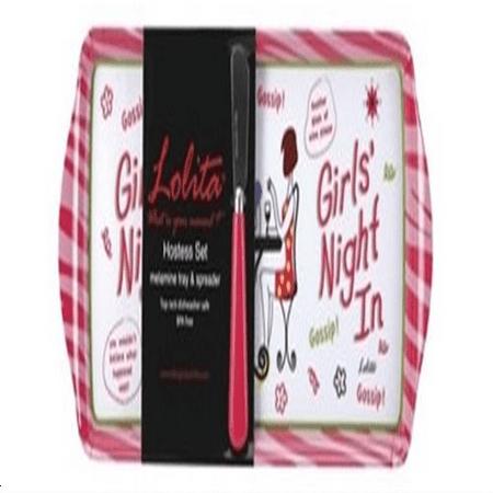Platinum Hostess Tray (Lolita Melamine Love My Party Girl's Night In Hostess Tray and Spreader Set, 15 x 6.5 Inch)