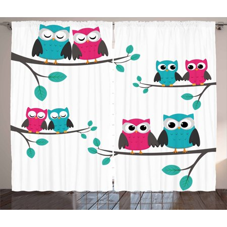 Nursery Curtains 2 Panels Set, Couples of Owls Sitting on Spring Branches Cute Funny Cartoon Characters, Window Drapes for Living Room Bedroom, 108W X 63L Inches, Turquoise Blue Pink, by Ambesonne