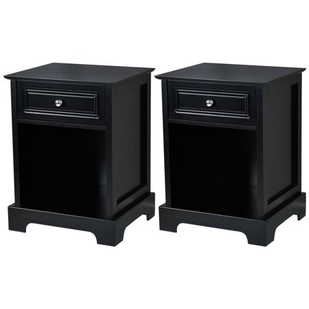 Gymax 2 PCS Night Stand End Accent Table Drawer Chest Sofa Side Bedside Storage Black