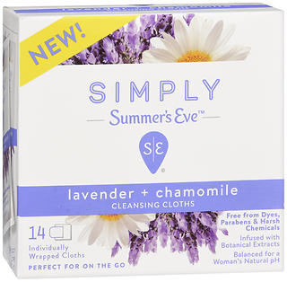Simply Summers Eve Cleansing Cloths Lavender + Chamomile - 14 ct Luvena Feminine Wipes Anti-Itch Cleansing Wipes Paraben Free Pack of 3