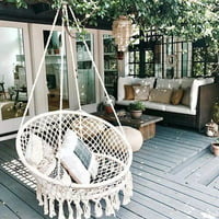 AUGIENB Hammock Chair Macrame Swing, Handmade Knitted Hanging Cotton Rope Chair for Indoor/Outdoor Home Patio Deck Yard Garden Reading Leisure, White/Black