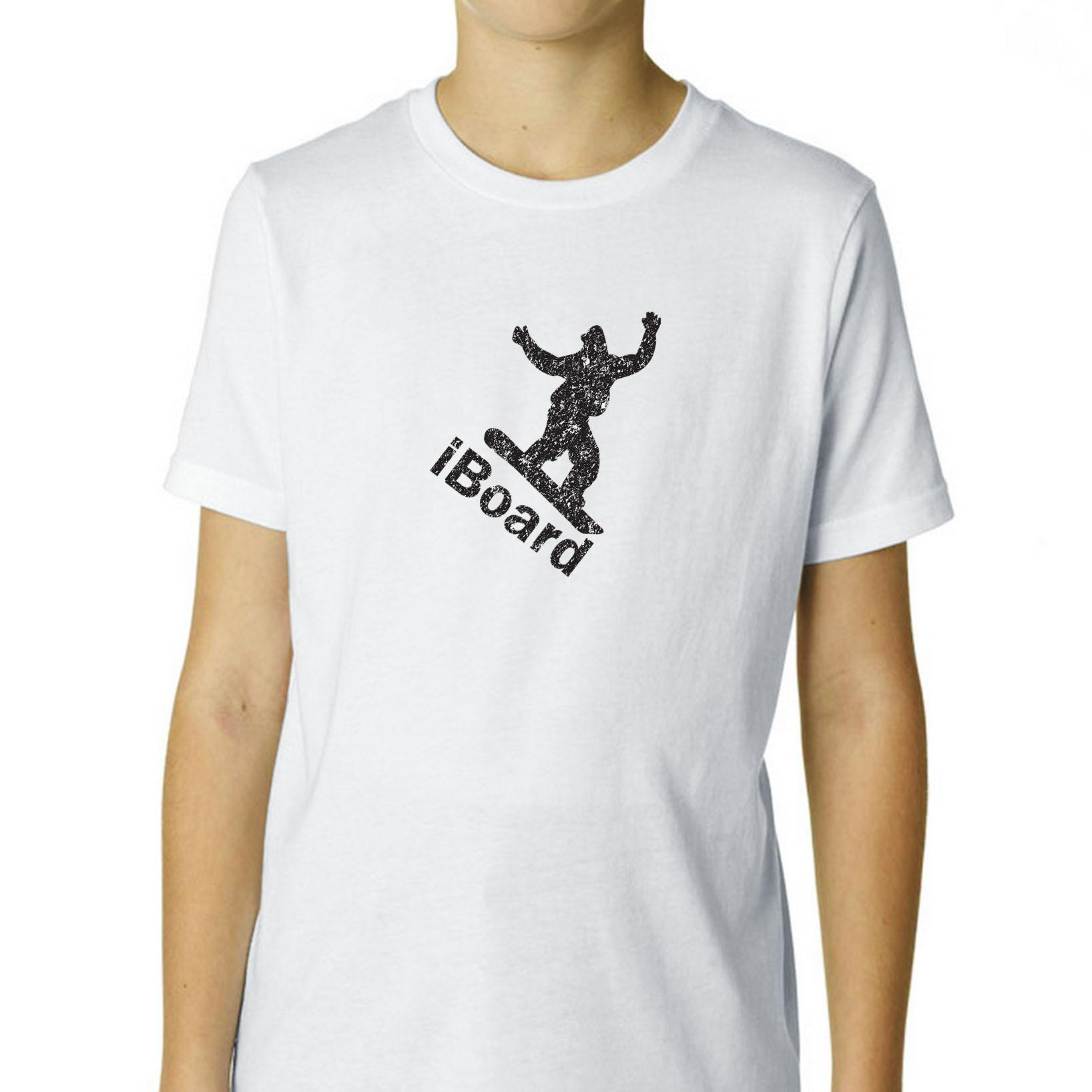 iBoard Snowboarding Very Cool Silhouette Boy's Cotton Youth T-Shirt by Hollywood Thread