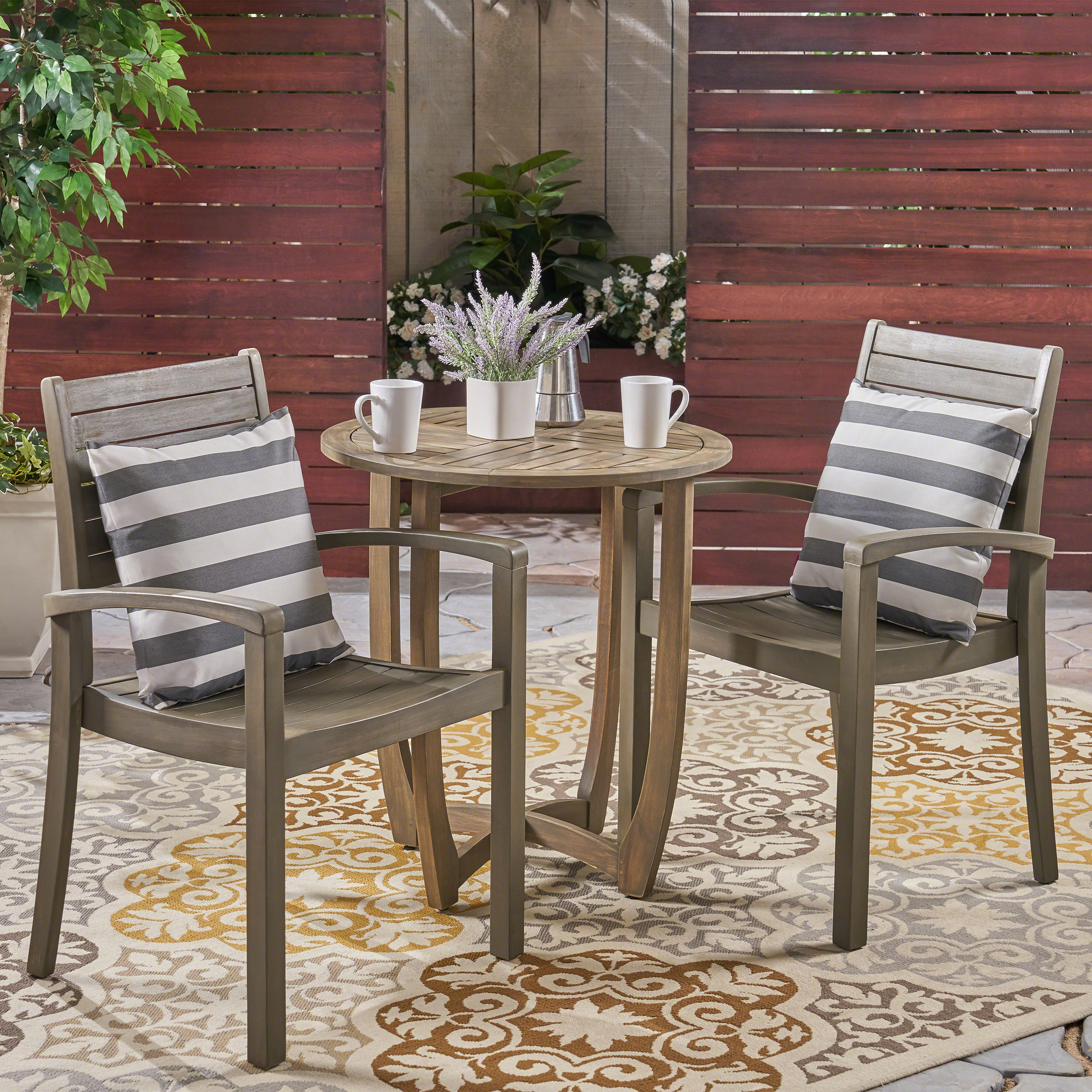Wells Outdoor 3 Piece Acacia Wood Bistro Set, Gray
