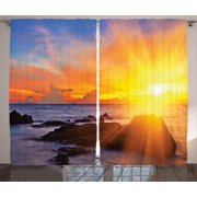 Seaside Decor Curtains 2 Panels Set, Colorful Sunset With Bright Light Romance In The Sky At Tropic Beach Fantasy Landscape, Living Room Bedroom Accessories, By Ambesonne