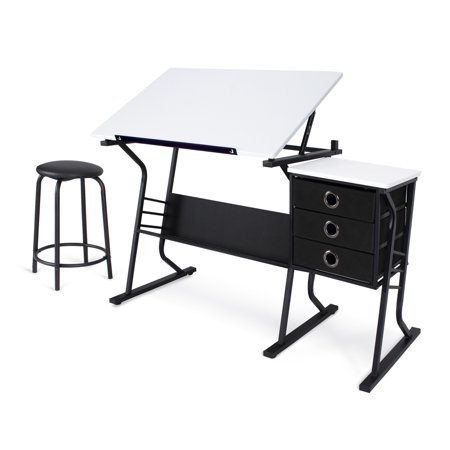 Belleze Adjule Drafting Table And Drawing Desktop W Stool 3 Drawers White