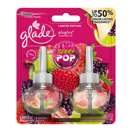 Glade PlugIns Scented Oil Air Freshener Refill, Berry Pop, 1.34 fl oz, 2 ct
