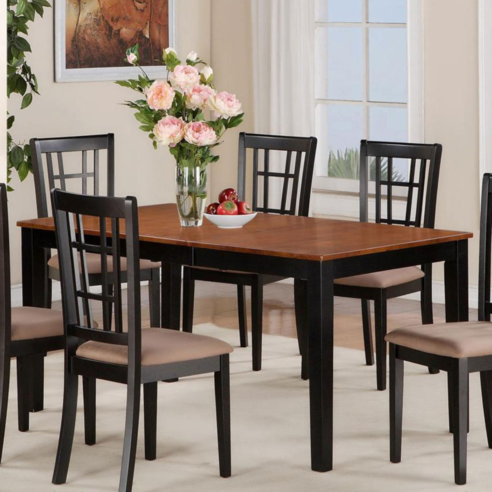 East West Furniture Nicoli 54 66 Inch Rectangular Dining Table With Butterfly Leaf Walmart Com Walmart Com