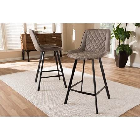 Set of 2 Baxton Studio Pickford Mid-Century Modern Light Brown Fabric Upholstered Counter Stool Set ()