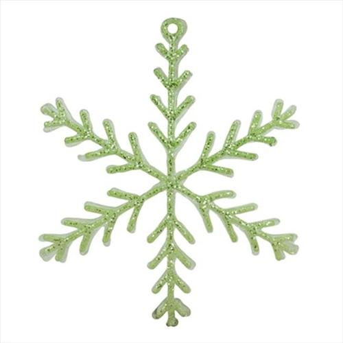 NorthLight 10. 5 inch Pastel Dreams Soft Green Glittered Snowflake Christmas Ornament