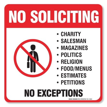 (4 Pack) No Soliciting Sign - Decal Self Adhesive
