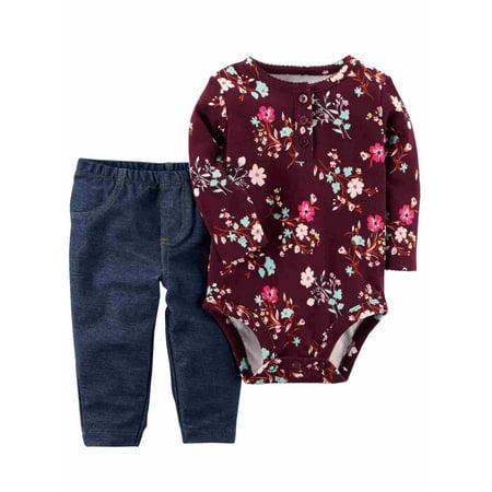 4c0581aaf28e0 Carters - Carters Infant Girls Baby Outfit Burgundy Floral Bodysuit &  Jeggings Set NB - Walmart.com