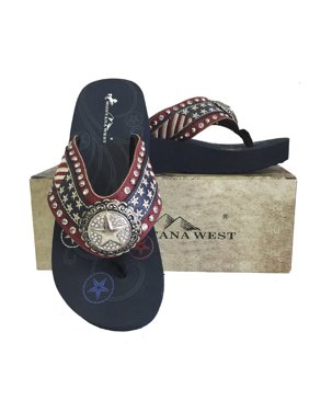 4736404c2f32 Product Image Montana West Women Flip Flops American Flag USA Stars Stripes  Wedge Sandals Red