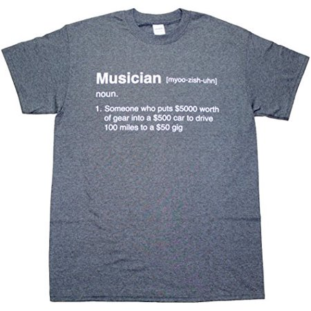 Definition of a Musician Funny Band Music Drummer Guitarist Bass Guitar Drum Humor Mens Graphic Tee Adult Pun T-Shirt Black