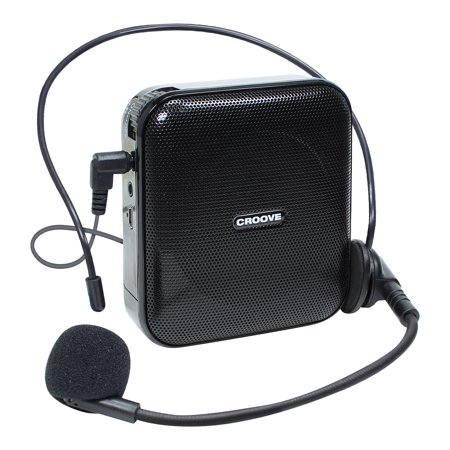Croove Voice Amplifier: Portable Rechargeable Microphone with Headset & Belt Clip - Ideal for Classroom Teachers & Tour