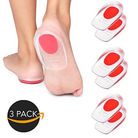 3-Pair Premium Comfort Gel Silicone Cushion Cup Massaging Insoles - BEST QUALITY GREAT (Best Shoe Insoles For Standing)