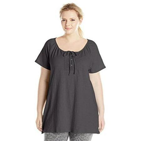 90563230853 Womens Plus-Size Slub Jersey Crochet Trim Tunic with Drawcord - Black, 4X - Womens Size 4x