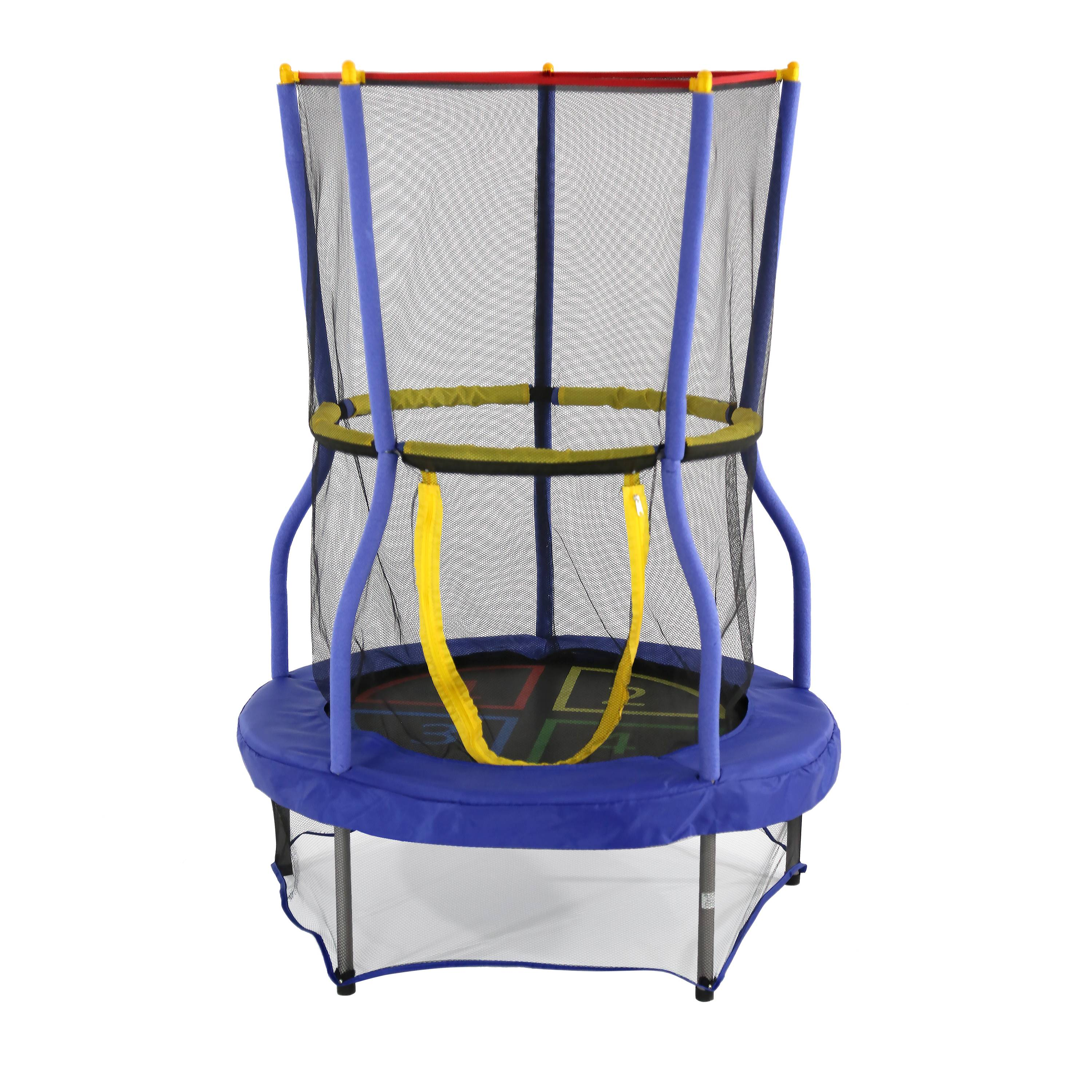 Skywalker Trampolines 40-Inch Bounce-N-Learn Mini Bouncer Trampoline, with Safety Enclosure, Blue