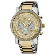 Men's Large Dial Diamond Quartz Chronograph Two-Tone Bracelet Watch - GOLD