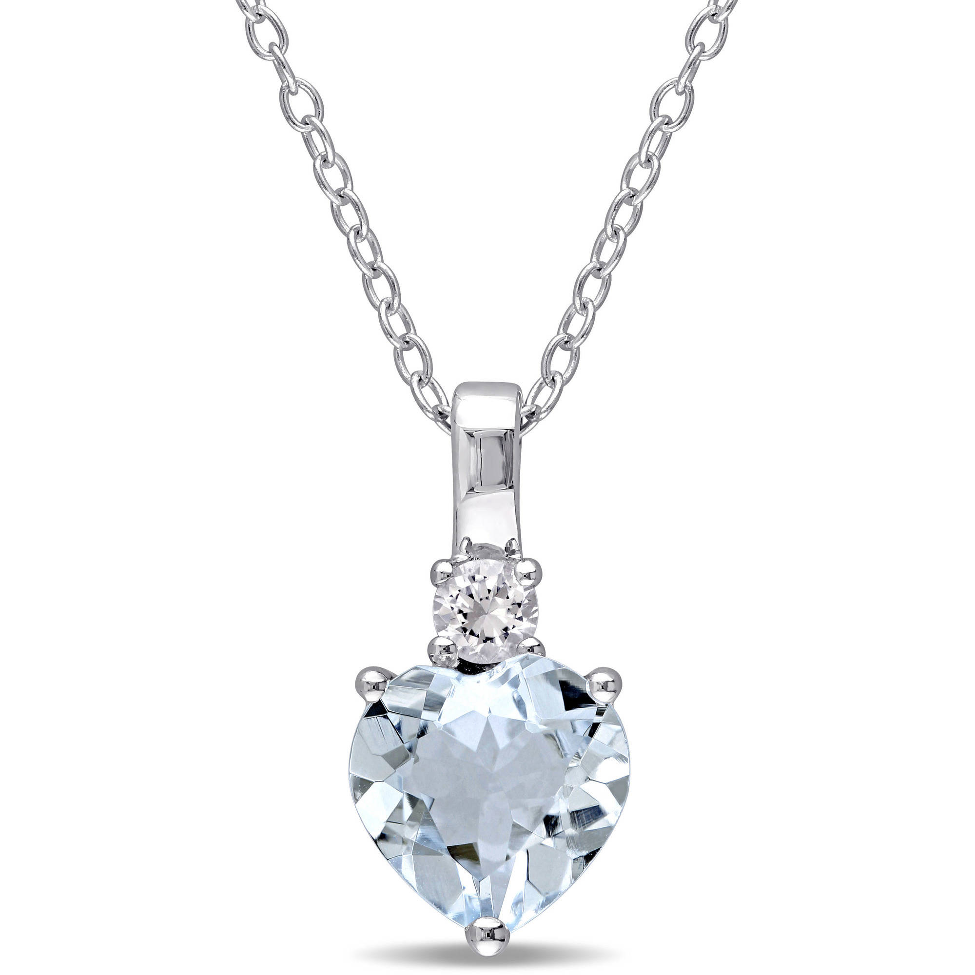 """1-7 8 Carat T.G.W. Aquamarine and Created White Sapphire Sterling Silver Heart Pendant, 18"""" by Generic"""