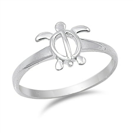 Women's Sea Turtle Cute Wholesale Ring ( Sizes 4 5 6 7 8 9 10 ) New .925 Sterling Silver Band Rings by Sac Silver (Size 7)