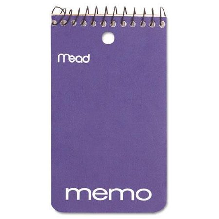 6 PADS: Memo Book, 60 Sheets, 3 x 5 inches, Cardboard Cover, Top Bound - Black Wire(45354), Mead 45354 Memo Book, College Ruled, 3