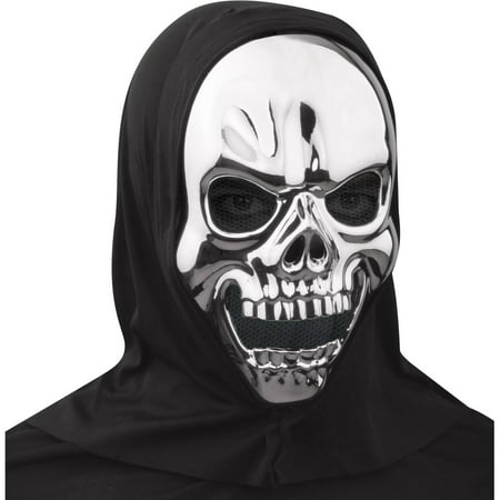 Metallic Silver Skull Mask Halloween Accessory