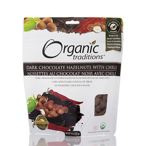 Dark Chocolate Hazelnuts with Chili - 8 oz (227 Grams) by Organic Traditions