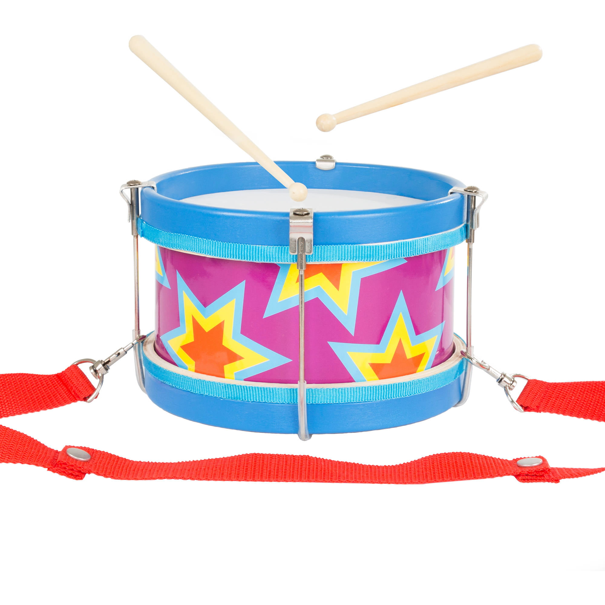 Double-sided Toy Marching Drum with Adjustable Strap and Two Wooden Drum Sticks by Hey!... by Trademark Global LLC