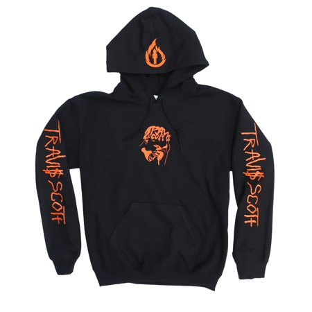Travis Scott Black Hoodie, Rodeo Merch ,Travis Scott Merch (Orange Facepalm, Flame and Text Logos) ()