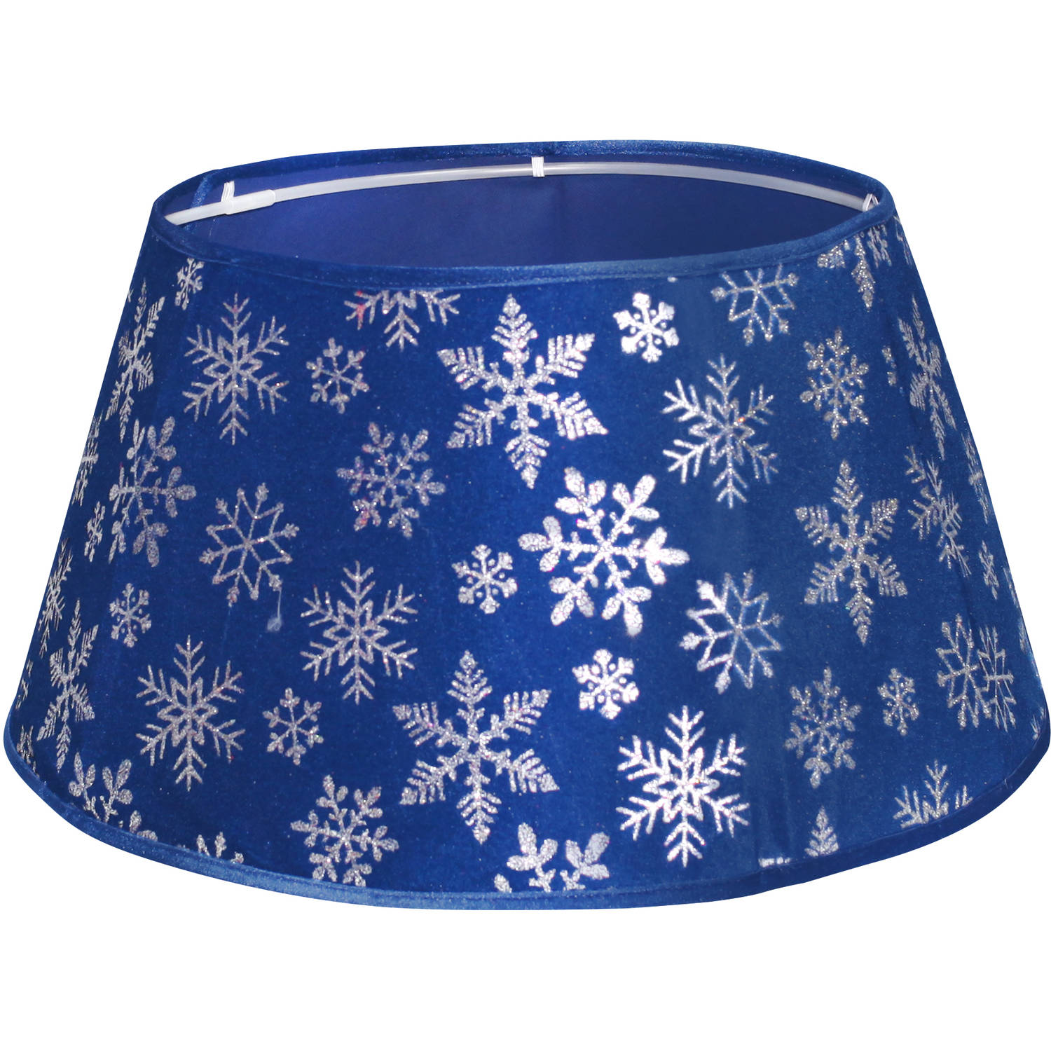"Holiday Time 22"" Blue Snowflake Velvet Stand Band Tree Stand Cover"