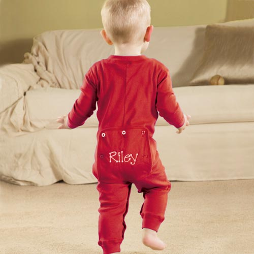 Personalized Baby Long Johns, Red