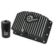 AFE Pro Series Engine Oil Pan Black w/Machined Fins; 11-16 Ford Powerstroke V8-6.7L (td)
