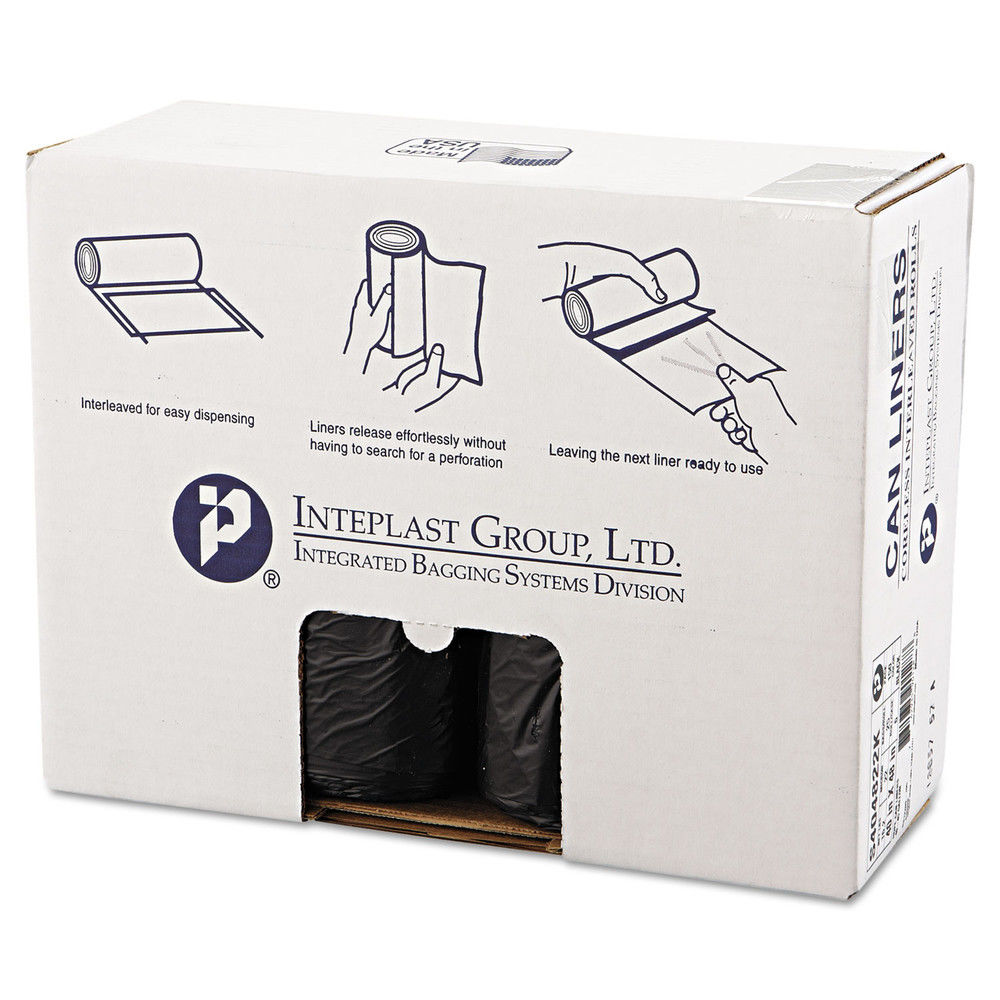 Inteplast Group High-Density Can Liners, 45 Gallon, Black, 25 count, (Pack of