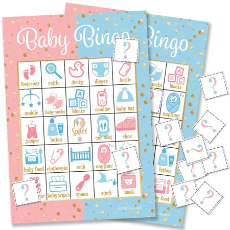 Pink, Blue, and Gold Gender Reveal Party Baby Bingo, 24 Game (Best Baby Reveal Ideas)