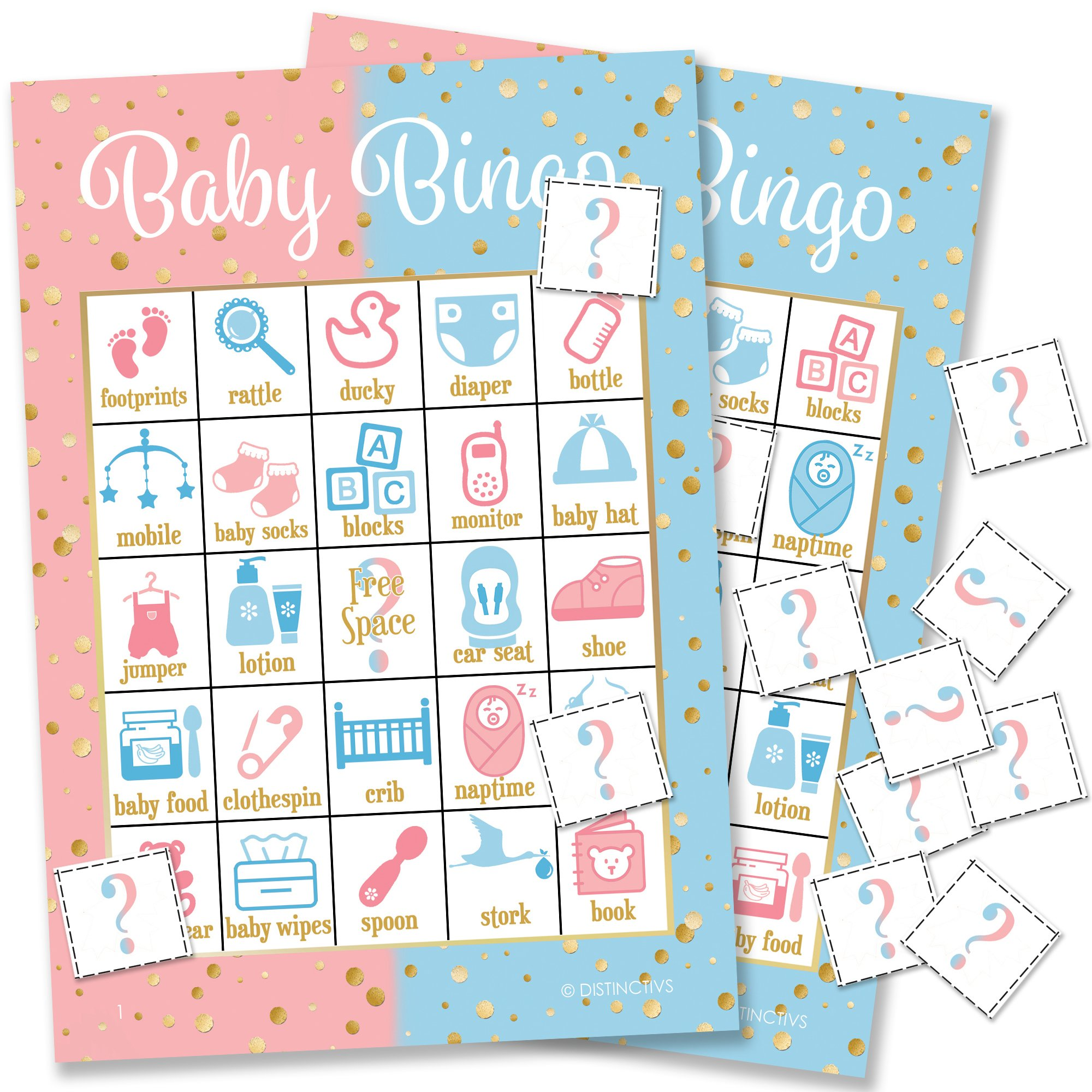 Pink, Blue, and Gold Gender Reveal Party Baby Bingo, 24 Game Cards