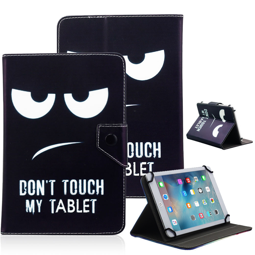 "Universal 10"" Tablet Flip PU Leather Folio Case Stand Cover Black (Don't Touch My Tablet)"