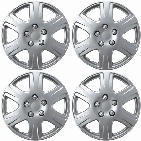 OxGord Hubcaps for Toyota Corolla (Pack of 4) Wheel Covers - 15 Inch, 6 Spoke, Snap On, Silver