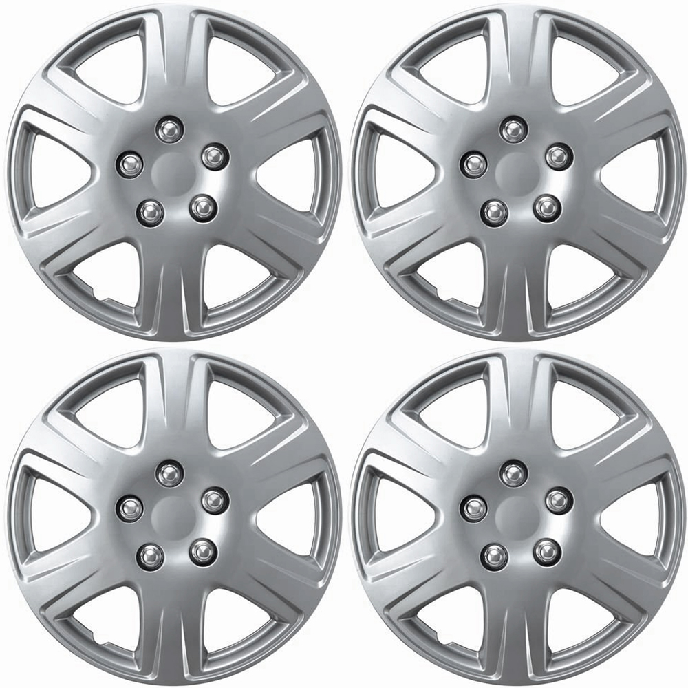 """OxGord 15"""" inch Silver Wheel Covers for 2005-2008 Toyota Corolla - Set of 4"""