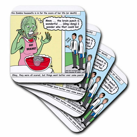 3dRose Halloween - Zombie Punch and the Religious Visitors, Soft Coasters, set of 4